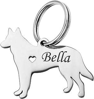 Tornado Personalisierte Haustier-ID-Tag Labrador Retriever Silhouette Hund Charm Anhänger Dackel Haustier Gedenkanhänger Edelstahl Geschenk Personalisierte Gravur mit Name & Nummer Geschenkbox