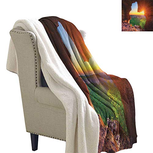 Canyon Sofa Sets - Natural Cave Sofa,Soft Cozy Canyon at Sunset Time from The Cave Exploration Theme Secret Perspective Blanket Small Quilt 60x78 Inch Green Orange
