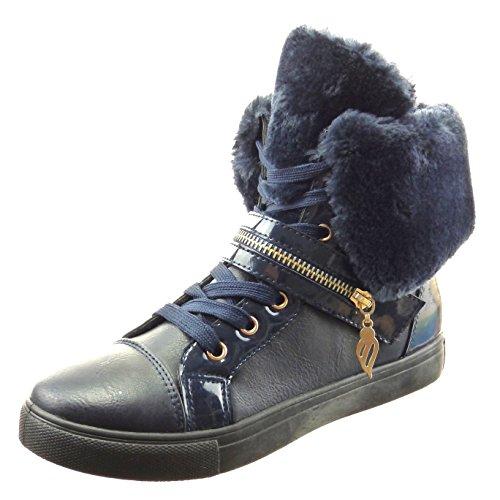Sopily - Scarpe da Moda Sneaker bi-materiale donna metallico zip verniciato Tacco a blocco 2.5 CM - soletta sintetico - foderato di pelliccia - Blu