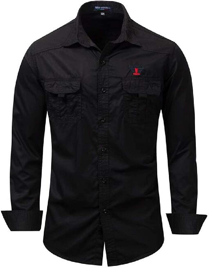 Jotebriyo Mens Military Button Down with Pocket Casual Long Sleeve Outdoor Shirt Top