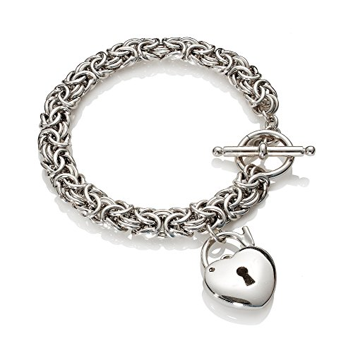 (Ross-Simons Italian Sterling Silver Heart Padlock Charm Byzantine Bracelet )