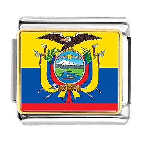 Plated Ecuador flag Bracelet Link Photo Italian Charm (Flag Charm Gold Plated)