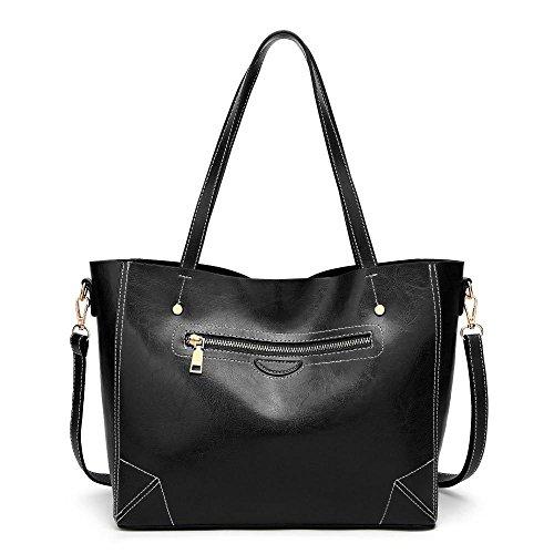 bolso de 32cmx14cmx25cm Sra cuero solo moda Black bolso Penao cera aceite messenger de tamaño 0qfUI