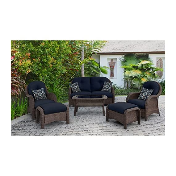 "Hanover Outdoor Newport 6-Piece Woven Seating Set, Navy Blue - Set includes:  one deep-seating loveseat,  two arm chairs,  two ottomans,  four accent pillows and a glass-top coffee Table Heavy duty Steel frame:  Powder coated Steel to resist rust Generous cushion size:  5"" Uv protected cushions offer maximum comfort while fashionable toss pillows are included to complete the style and enjoyment. - patio-furniture, patio, conversation-sets - 51nfrPdbnxL. SS570  -"