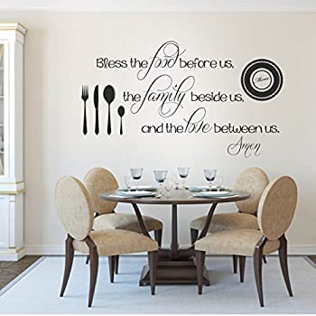 Removable Decal Vinyl Quotes Wall Stickers Mural Family Home Room Bless The Food Before UsX LargeBlackC
