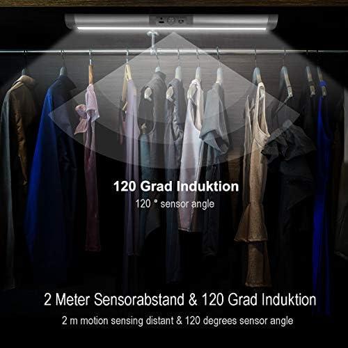 2er LED Sensor Licht, MYPLUS LED Bewegungsmelder Schrankleuchten Wiederaufladbares drahtloses Nachtlicht Smart On/Off für Küche, Kleiderschrank, Treppen, Räume [Energieklasse A+]