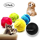 Magic Roller Ball Toy Automatic Roller Ball Magic Mocoro Ball Dog Cat Pet Toy Cover Cleaning Home Pet Toys (1 Rolling Ball + 4 Color Ball Cover) For Sale