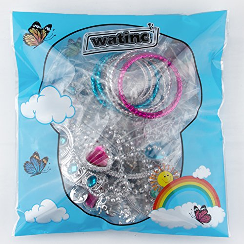 WATINC 46Pack Princess Pretend Jewelry Toy,Girl's Jewelry Dress Up Play Set,Included Crowns, Necklaces,Wands, Rings,Earrings andBracelets,46 Pack