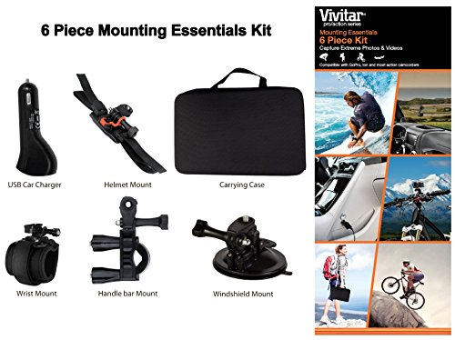 Action Camera 6 Piece Mounting Essentials Kit for GoPro GoPr