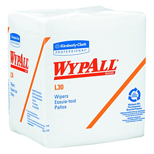 Wypall L30 DRC Wipers (05812), Strong and Soft Wipes, White, 12 Packs / Case, 90 Wipers / (Wypall Cloths)
