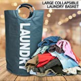 Large Collapsible Laundry Basket Bundle Pack - Tall Dirty Clothes Hamper, 2 Hooks and Mesh Bags; Cute Design by CMG Make It Easy