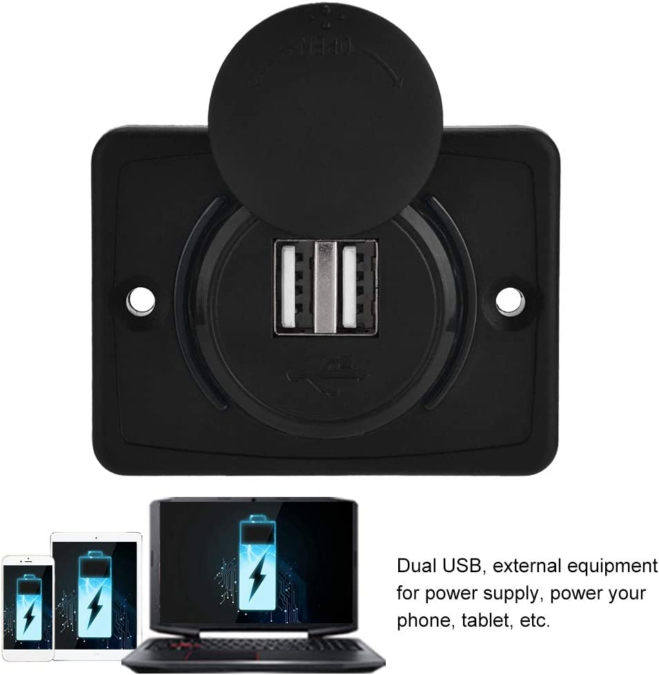 Car Dual Black ABS USB Port Charger Socket Outlet 12V LED Waterproof Fit for Auto Universal Hlyjoon 3.1A USB Charger Socket