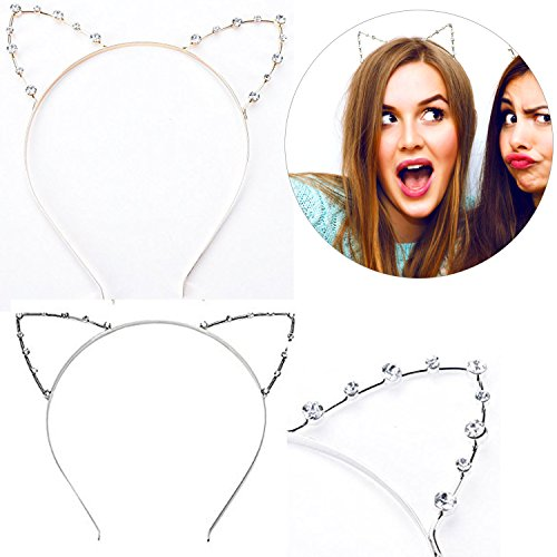 Buytra Women's Girls Rhinestone Crystal Cat Kitty Ears Headband for Party Masquerade Fancy Dress Costume, Gold, Silver, Pack of - Money Usps Number Order Tracking