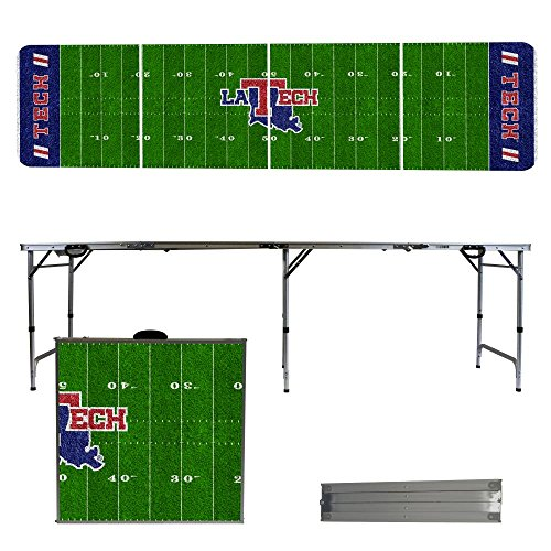 Louisiana Tech University Bulldogs 8 Foot Portable Folding Tailgate Table Football Field (Tech Tailgate Pong Table)