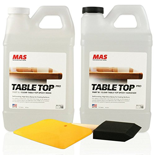 Crystal Clear Epoxy Resin One Gallon Kit | MAS Table Top Pro Epoxy Resin & Hardener | Two Part Kit for Wood Tabletop, Bar Top, Resin Art | Set Includes Spreader & Brush | Professional Grade Coating (Tile Replacement Table Top)