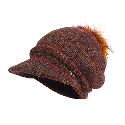 Hat-Blend Wool Hat Detachable Braid Hair Ball Cap Pile Hat Female Autumn and Winter Knit Hat (2 Color Choice) (Color : Wine red)