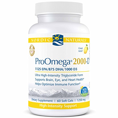 Cheap Nordic Naturals ProOmega 2000-D- Fish Oil, 1125 mg EPA, 875 mg DHA, 1000 IU Vitamin D3 Cholecalciferol, Support for Cardiovascular, Neurological, Eye, and Immune Health*, Lemon Flavored, 60 Soft Gels