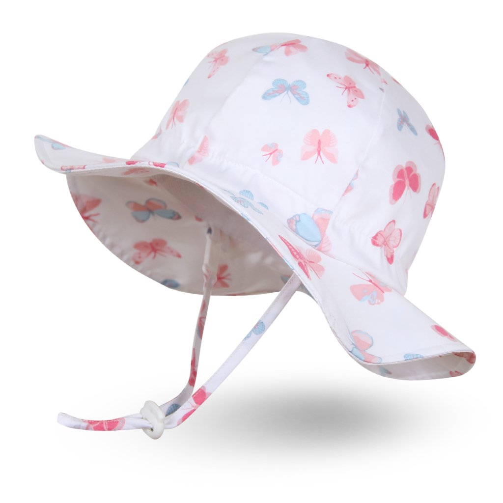 Ami&Li tots Unisex Child Adjustable Wide Brim Sun Protection Hat UPF 50 Sunhat for Baby Girl Boy Infant Kids Toddler - S: Pastel Butterflies by Ami&Li tots