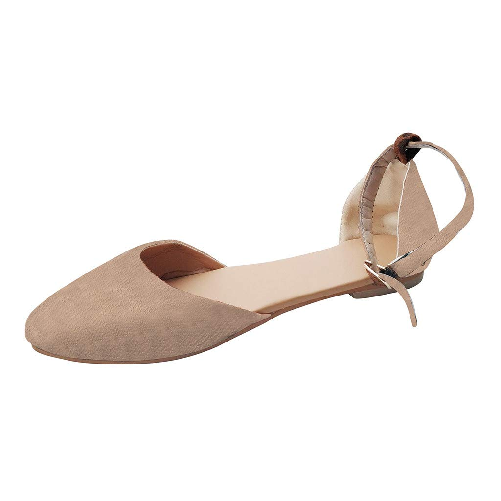 WugeshangmaoShoes for Women Pointed Toe,Buckle Strap Sandals for Women,Teen Girls' Platform Flat Heel Casual Sandals Khaki