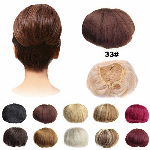 FESHFEN Bridal Hair Bun Updo Scrunchy Scrunchie Hairpiece Wig Hair Ribbon Ponytail Extensions Clips Straight Drawstring Hair Chignons Topknot Knot-33# Dark Auburn