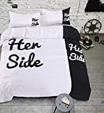 Wowelife His Side Her Side Bedding Cotton Duvet Cover Sets 4 PCS Bed Sheet and Pillow Cases for Valentine's Day Gift(Comforter Not Included) (Queen)