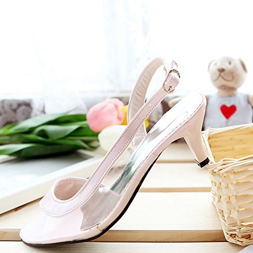 Charm Foot Fashion Womens Pump Low Heel Open Toe Sandals Shoes Pink VLnzztCnsL