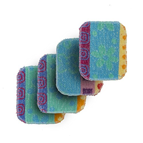 """Paperless Kitchen Set of 4 Premium Dish Wash Scrubs - Sponge Scour Pads Made of 100% Natural Organic Fibers W/Non-Toxic Coat - Non-Scratch Surface - 5"""" x 6.5"""" - Ideal for Kitchen, Bathroom Cleaning"""