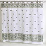 Carnation Home Fashions Windsor Squares Fabric Shower Curtain