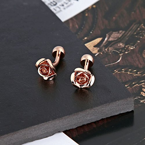 Gnzoe Men Stainless Steel Rose Gold Fashion Elegant Roses Flowers Gift Shirt Cufflinks with Gift Box by Gnzoe (Image #3)