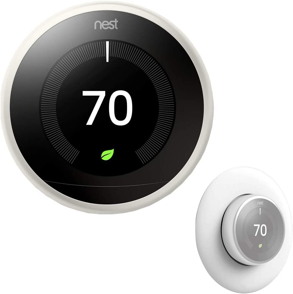 Google T3017US Nest Learning Thermostat (3rd Generation, White) Bundle with Deco Essentials Wall Plate Cover for Google Nest Thermostat 1st, 2nd, 3rd Generation Models