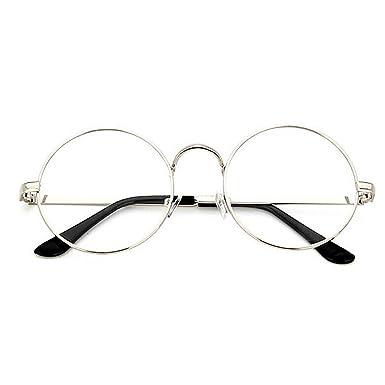 TININNA Unisexe Rétro Rondes Metalique Cadre Frame Lunettes Vintage Verres Transparent Style Aviateur Pilote Eyeglasses pour Homme et Femme Adultes - Noir - Taille unique XMj6jBcwyP