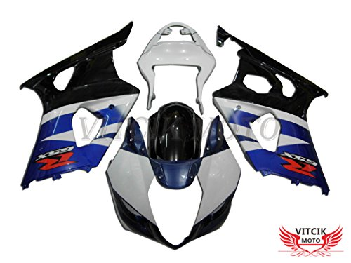 VITCIK (Fairing Kits Fit for Suzuki GSXR1000 K3 2003 2004 GSXR 1000 GSX R1000 K3 03 04) Plastic ABS Injection Mold Complete Motorcycle Body Aftermarket Bodywork Frame (White & Blue) A015 Abs Plastic Body