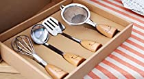 Sell by Automotiveapple, Mini Kitchen Tool Stainless Steel with Wooden Handle, Kitchen Utensils GADGET 4-pc Set