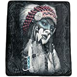 DGA Day of Dead Native American High Definition Super Soft Plush Micro Fleece Blanket 50x60 Inches -