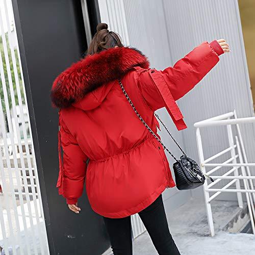 Larga Parkas Moda Casuales Chaqueta Plumas Espesar Mujer Unicolor De Outwear Con Caliente Rojo Capucha Manga Elegantes Invierno Piel Mujeres tRAq8xRwH