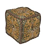 Diva At Home 18'' Yellow, Pink and Green Square Woven Pouf Ottoman