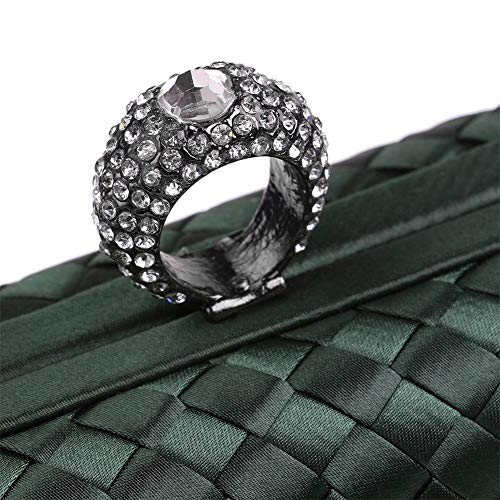 Verde Da Cheongsam Blu Con Sera Piccola A Frange Intrecciato Borsa Tessuto Mano In Donna qzOwP7xE67