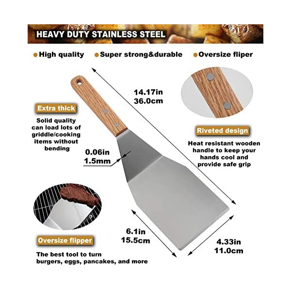 Romanticist 8Pcs Accessori per Grill Kit Attrezzi per Barbecue - Set di Spatole per Uso Professionale in Ccciaio Inox… 3 spesavip