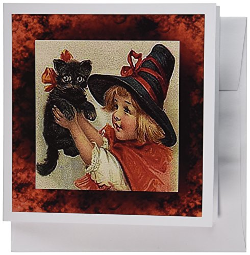 3dRose Vintage Halloween Little Girl Holding Black Cat - Greeting Cards, 6 x 6 inches, set of 6 (gc_6200_1)]()