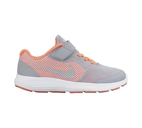 detailed look ee963 4ce41 Nike Revolution 3 (PSV), Zapatillas de Deporte para Niñas,  Amarillo Plateado Gris (Brght Mango Mtllc Slvr-WLF Gry), 31 1 2 EU   Amazon.es  Zapatos y ...