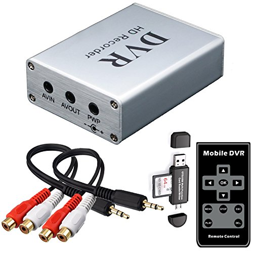 FPV Mini DVR with SD Card Reader, SD Card Real-time Digital Video Recorder for FPV Camera Hi8 Camcorder DVD TV Box MPEG-4 CH1 ()
