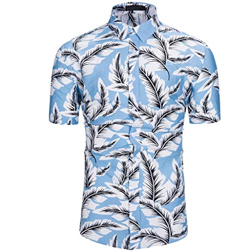 YOcheerful Men's Summer Tops Maple Leaf Hawaiian Style Short-Sleeved Shirts (Blue, M) (Patons Wool Patterns Free)
