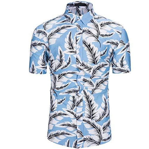 YOcheerful Men's Summer Tops Maple Leaf Hawaiian Style Short-Sleeved Shirts (Blue, L)