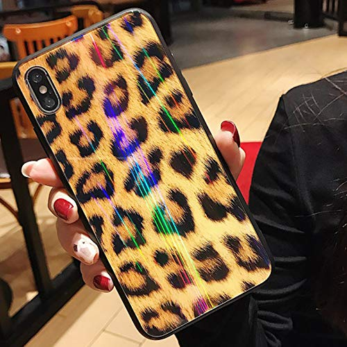 big sale 5f056 6dde8 Leopard Print iPhone Xs max case, Holographic Rainbow Laser Ombre Back  Glass Case for iPhone Xs max Wildling Panther Hot Sexy Fashion Cover Shiny  ...