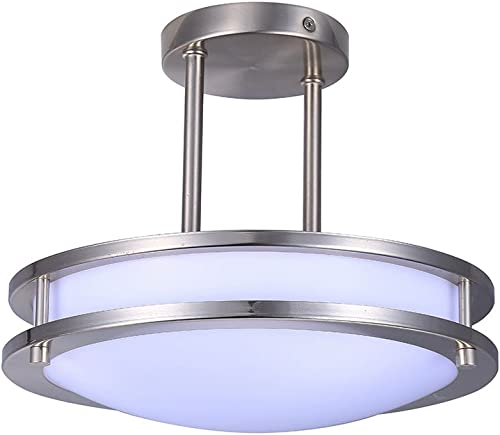 TriGlow T84023 12 LED Double Ring Pendant, Brushed Nickel Semi Flush Mount Light Fixture, Dimmable 4000K Cool White , 12- Inch
