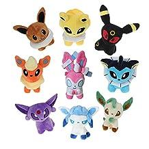 Generic Pokemon Stuffed Plush Toys Eevee Glaceon Leafeon Flareon Espeon Umbreon Eevee Vaporeon Jolteon (9 Piece)