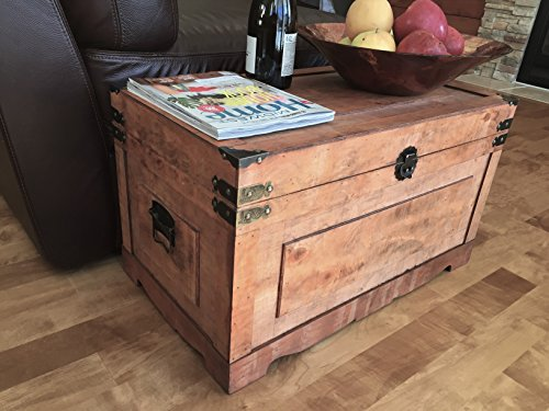 Newport Medium Wood Storage Trunk Wooden Treasure Chest - Brown