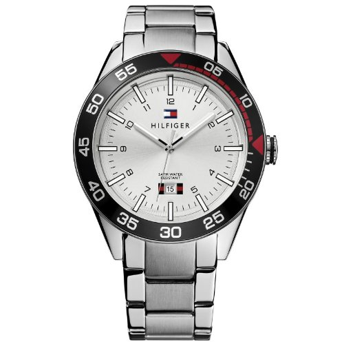 Tommy Hilfiger Men's 1790980 Silver Stainless-Steel Analog Quartz Watch with Silver Dial