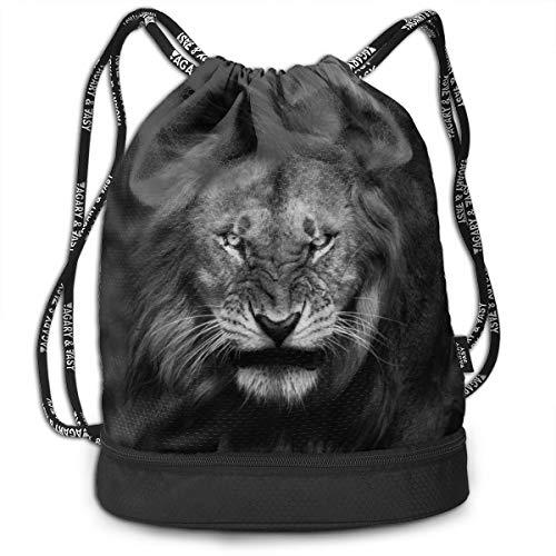 Address Verb Drawstring Backpack with Pocket Multifunctional Sturdy Nature Lion Sackpack Sports Gym Shoulder String Bags]()