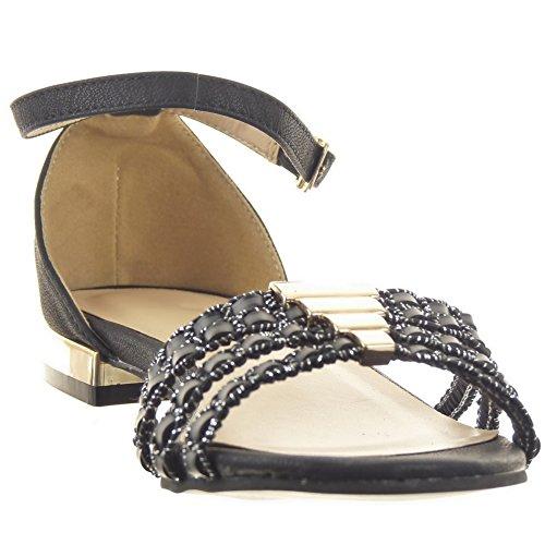 Sopily - damen Mode Schuhe Sandalen Fertig Steppnähte metallisch Linien - Schwarz